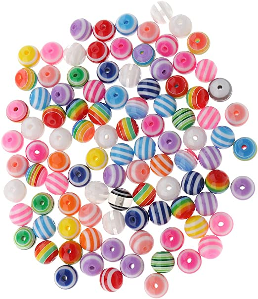 50 x 6mm Mixed Resin Striped Round  Beads