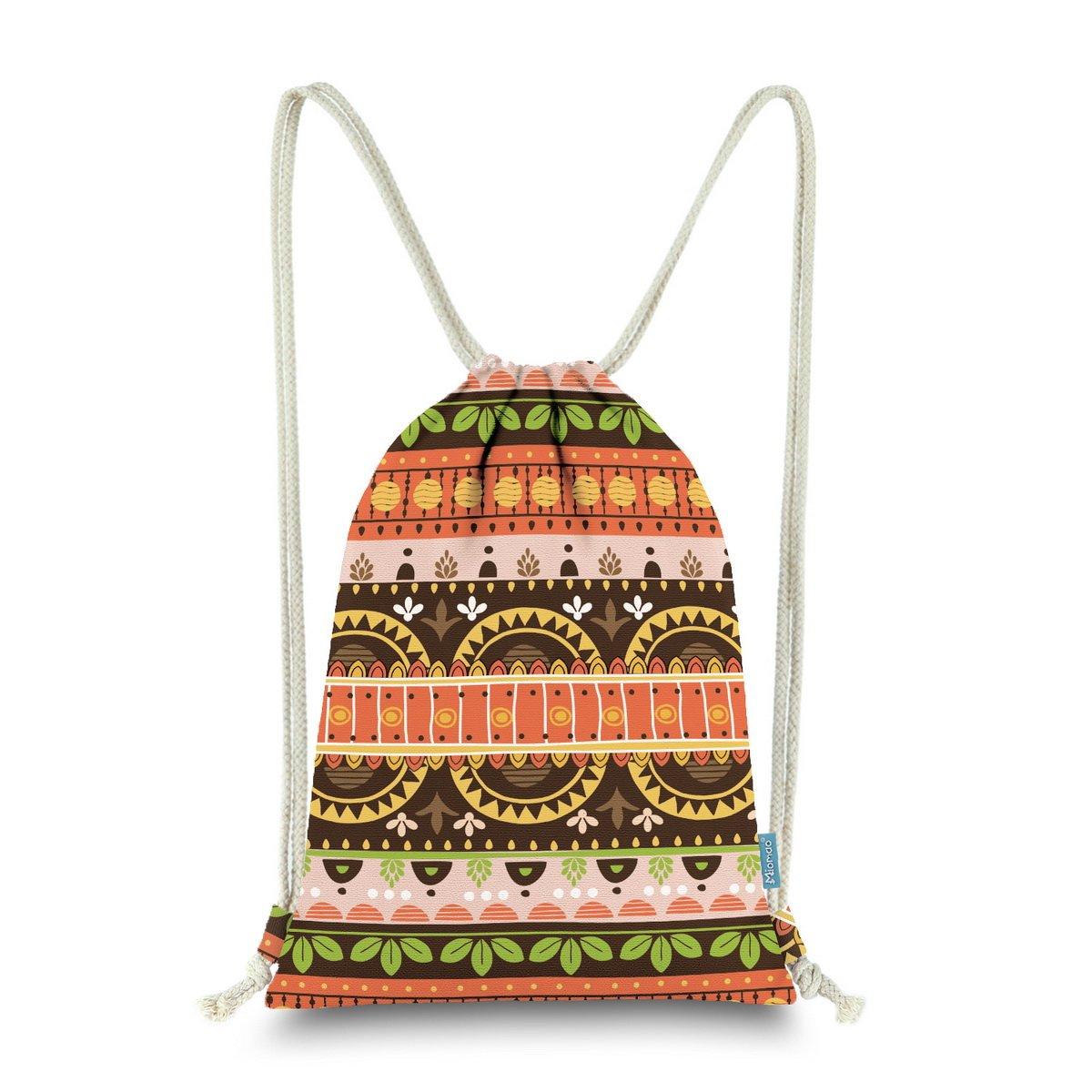 Miomao Gym Sackpack Drawstring Backpack Ethnic Bohemia Style String Bag Fleece Boho Sinch Sack Sport Cinch Sack Christams Gift Beach Bag 13 X 18 Inches Orange