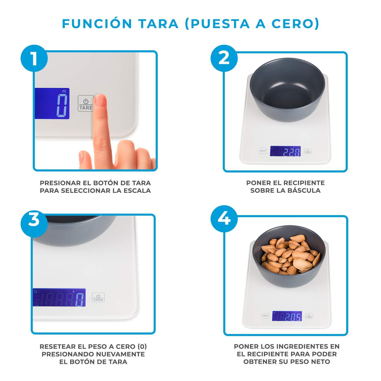 Báscula digital de cocina barata con Bluetooth para Smartphone, con aplicación para control de calorías y dietas, con info nutricional de alimentos.