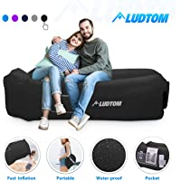 $24 » LUDTOM Inflatable Lounger Air Sofa Hammock, Portable Waterproof Anti-Air Leaking Pouch…