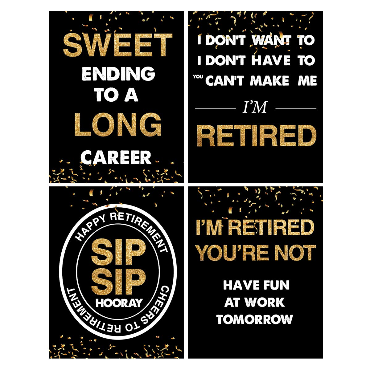 Funny Officially Retired Decoration 8 Retirement Wine Bottle Labels For Men or Women Retirement Party Gift Wine Labels
