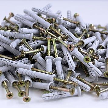 6 x 30 mm 200 St/ück Nageld/übel Schlagd/übel Einschlagd/übel Senkkopf D/übel Nylon vormontiert