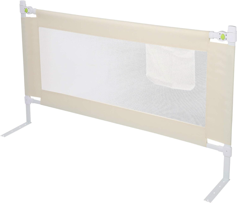 Protector de cama de beb/é Greensen Elevaci/ón vertical ajustable para ni/ños Protecci/ón port/átil plegable contra ca/ídas para ni/ños peque/ños y ni/ños Beige 150cm