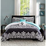Teen Girl Bedding Damask Girls Comforter Black White Aqua Teal Full Queen SUPER SET + GORGEOUS Throw Pillows + Shams & Home Style Sleep Mask Bed Bedspread Sets for Kids Teenage Teens Floral Medallion