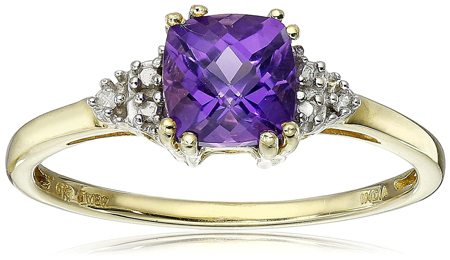 Amazon.com: 10K Yellow Gold Amethyst Cushion with Diamond February  Birthstone Ring, Size 7: Jewelry