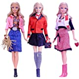 3 Sets Beautiful Casual Wear Dating Dress Blouse Skirt Clothes Accessories Handbage Shoes for Barbie Doll Style 2