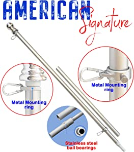 American Signature 5 ft Aluminum Tangle Free Spinning Flag Pole with Carabiners - New Enhanced Design Outdoor Wall Mount Flag Pole for Residential or Commercial (Silver, 5')