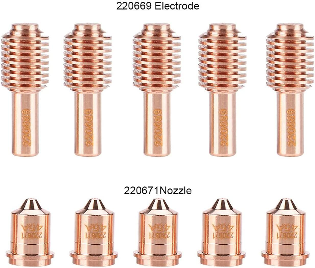 5pcs Electrode and Nozzle Tips Plasma Torch Consumable for MAX45 cutting machine 220669 220671