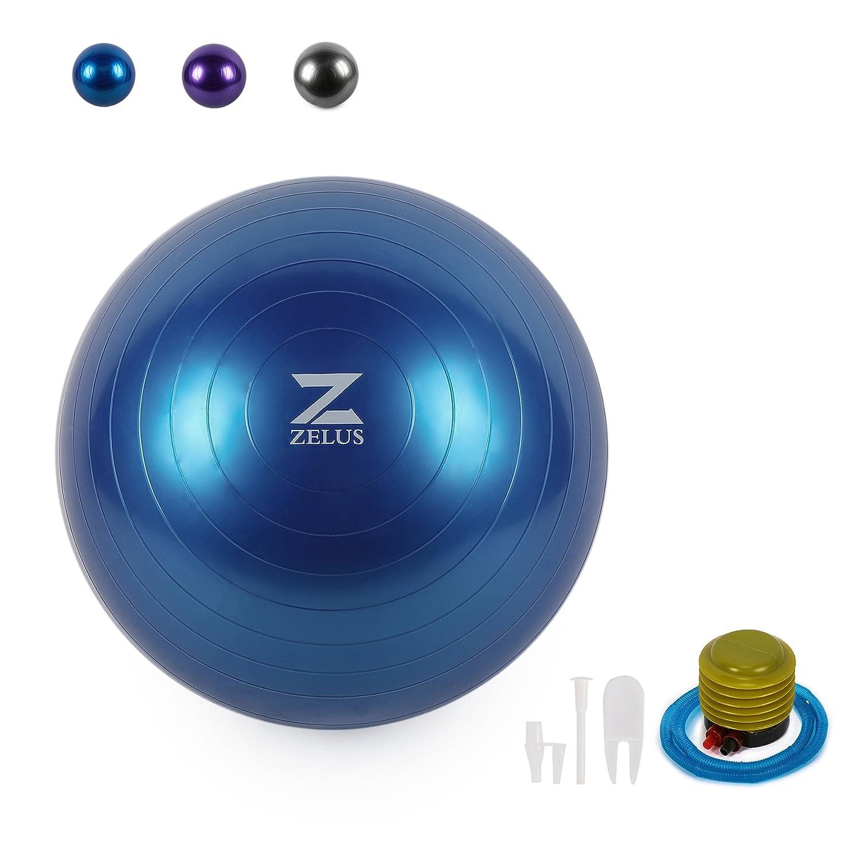 ZELUS Bola de Equilibrio Pelota de Yoga para Fitness, Estabilidad, Equilibrio y Pilate, Diseño Antiquemaduras, Bomba Rápida Incluida (75 cm, ...