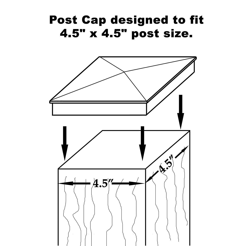 Nuvo Iron Decorative Pyramid Aluminium Post Cap for 4.5'' x 4.5'' Posts - Black [24 PACK]