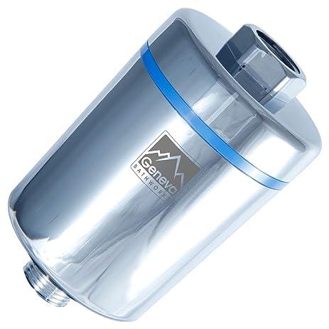 geneva bathworks shower filter for hard water universal inline showerhead filter removes chlorine and softens