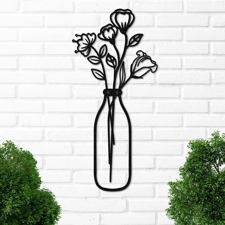 Qmetalart Vase Metal Wall Art, Flower in Vase Wall Decorations for Living Room Kitchen Bedroom Bathroom Home Wall Decor Lovers Housewarming Gift - Narrow