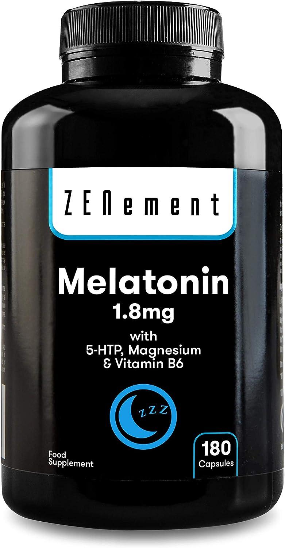 Melatonina 1,8 mg con 5-HTP, Magnesio y Vitamina B6, 180 Cápsulas