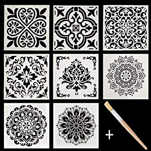 Mandala Painting Stencils Set, Wall Floor Tile Fabric Wood Stencils Reusable Plastic Drawing Painting Template Set Include Stencil Brush (9 Pack, 6x6 inch)