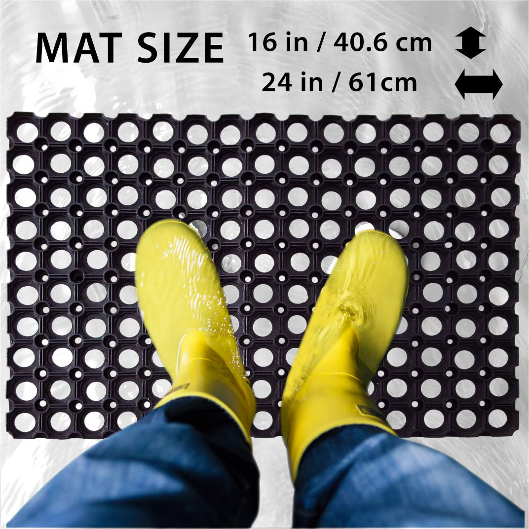 SafetyCare Heavy Duty Flexible Drainage Rubber Floor Mat Restaurant /& Bar Style Anti-Fatigue Water Hog Comfort Mat 1 Pack 24 x 16 Inches