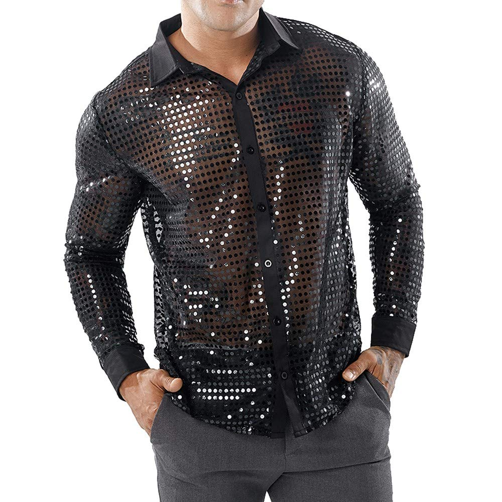 GREFER Personality T Shirt Men's Casual Long Sleeve Shirts Hollow Top Blouse Black by GREFER