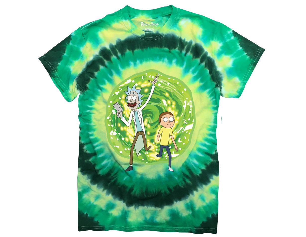 Ripple Junction Rick and Morty Large Portal Adult T-Shirt Large Green Tye Dye