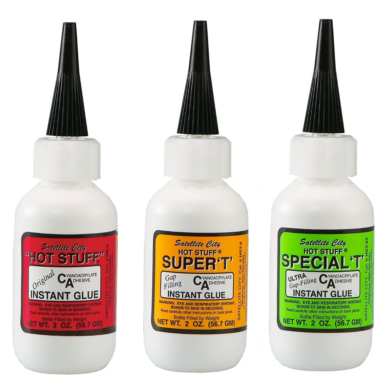 Satellite City CA Glue Set of 3 - (1) Original Thin, (1) Super T Medium, (1) Special T Thick - 2 oz Bottles