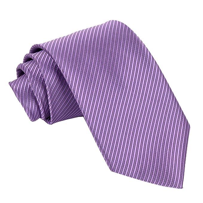 Panegy Corbata de Rayas Seda Teñida para Hombre Color Violeta ...