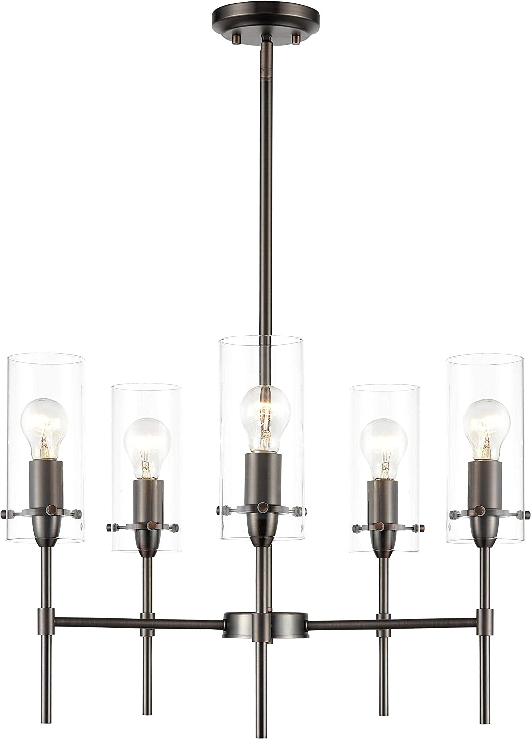 Light Society LS-C239-BZ-CL Montreal 5-Light Chandelier, Bronze with Clear Glass Shades, Contemporary Modern Pendant Lamp