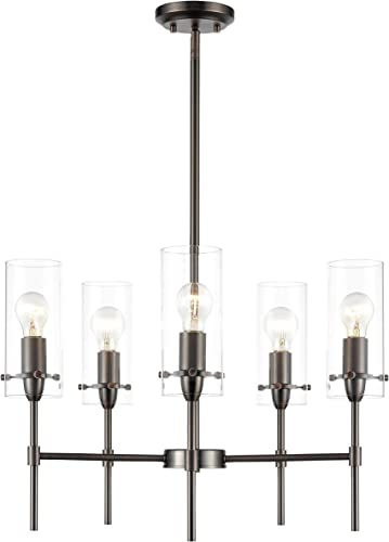 Light Society LS-C239-BZ-CL Montreal 5-Light Chandelier