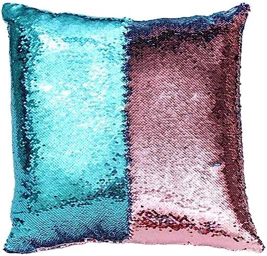 Reversible Magic Sequins Mermaid Pillow Cases 40 cm x 40 cm Hot Pink//Silver