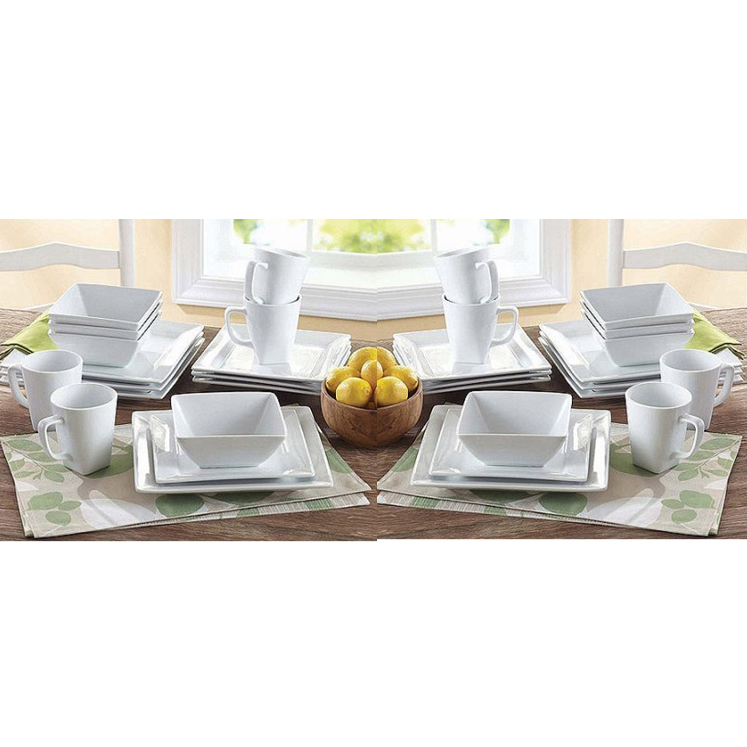 Better Homes and Gardens Square 16 Piece Porcelain Dinnerware Set, 2-Pack
