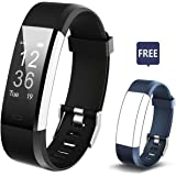 Fitness Tracker, Smart Bracelet ID115 Plus Alarm Clock Meter Smart Watch Bluetooth Sport Fitness sleep Tracker Monitor Track Wristband with Replacement Band