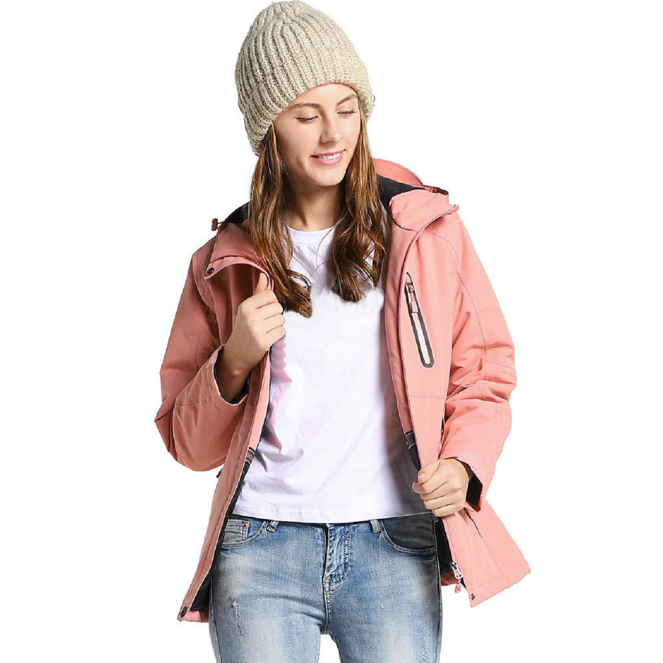 Reokoou Winter Women Three-Speed Temperature Control USB Charging Heating Warm Jacket Long Sleeve Hooded Jacket Soft Top Pink by Reokoou