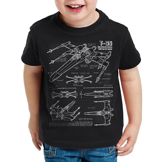 style3 X-Wing Cianotipo Camiseta para Niños T-Shirt Fotocalco Azul t-65