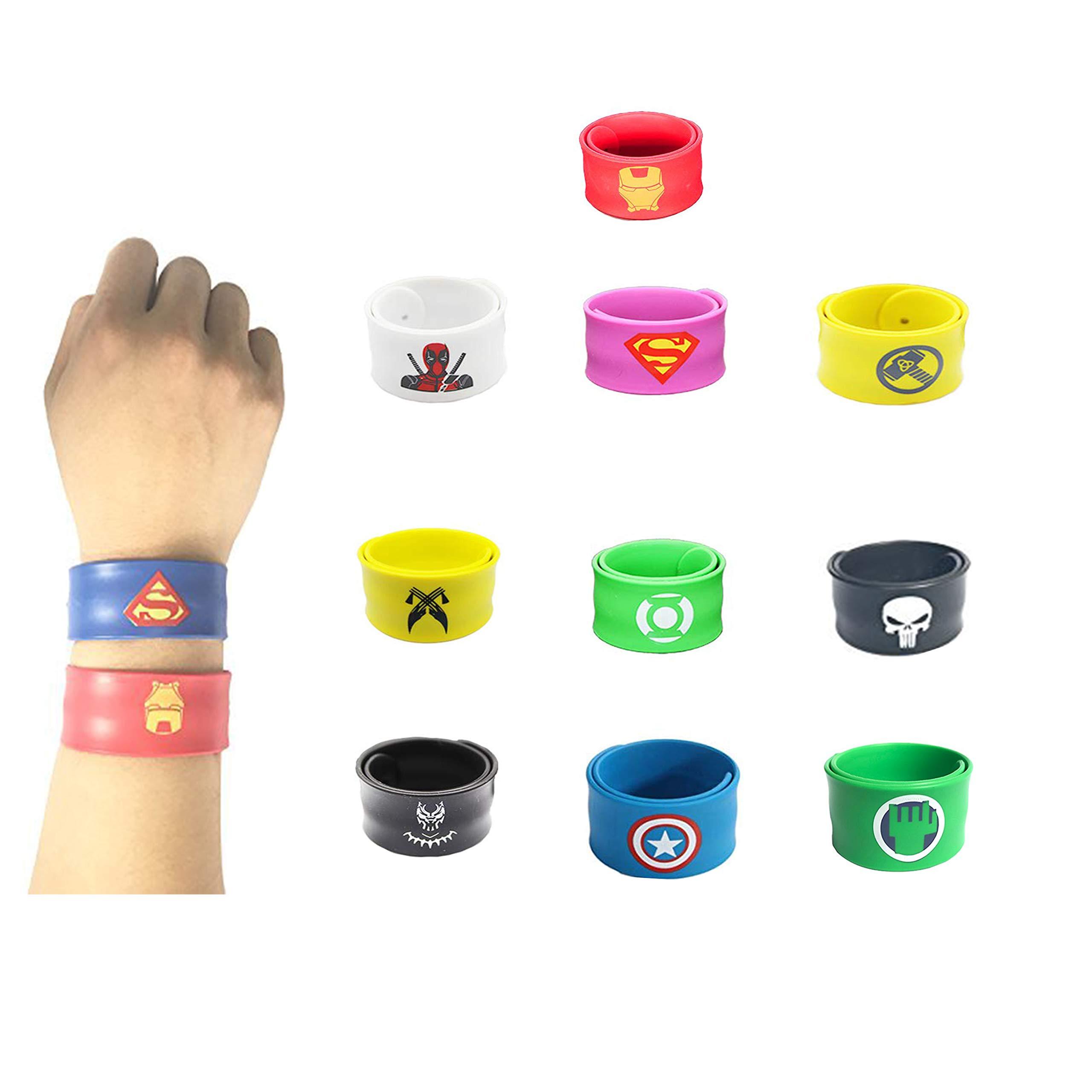 Southstar Bracelet Bands for Kids, 10pcs Superheroes Slap Bands Party Bag Fillers Slap Bracelets Set for Kids Boys & Girls Birthday Party Favors (Style 2)