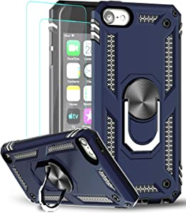 iPod Touch 7 Case, iPod Touch 6 Case, iPod Touch 5 Case with Tempered Glass Screen Protector [2Pack], LeYi Military Grade Phone Case with Car Mount Kickstand for Apple iPod Touch 7th/6th/5th Gen, Blue