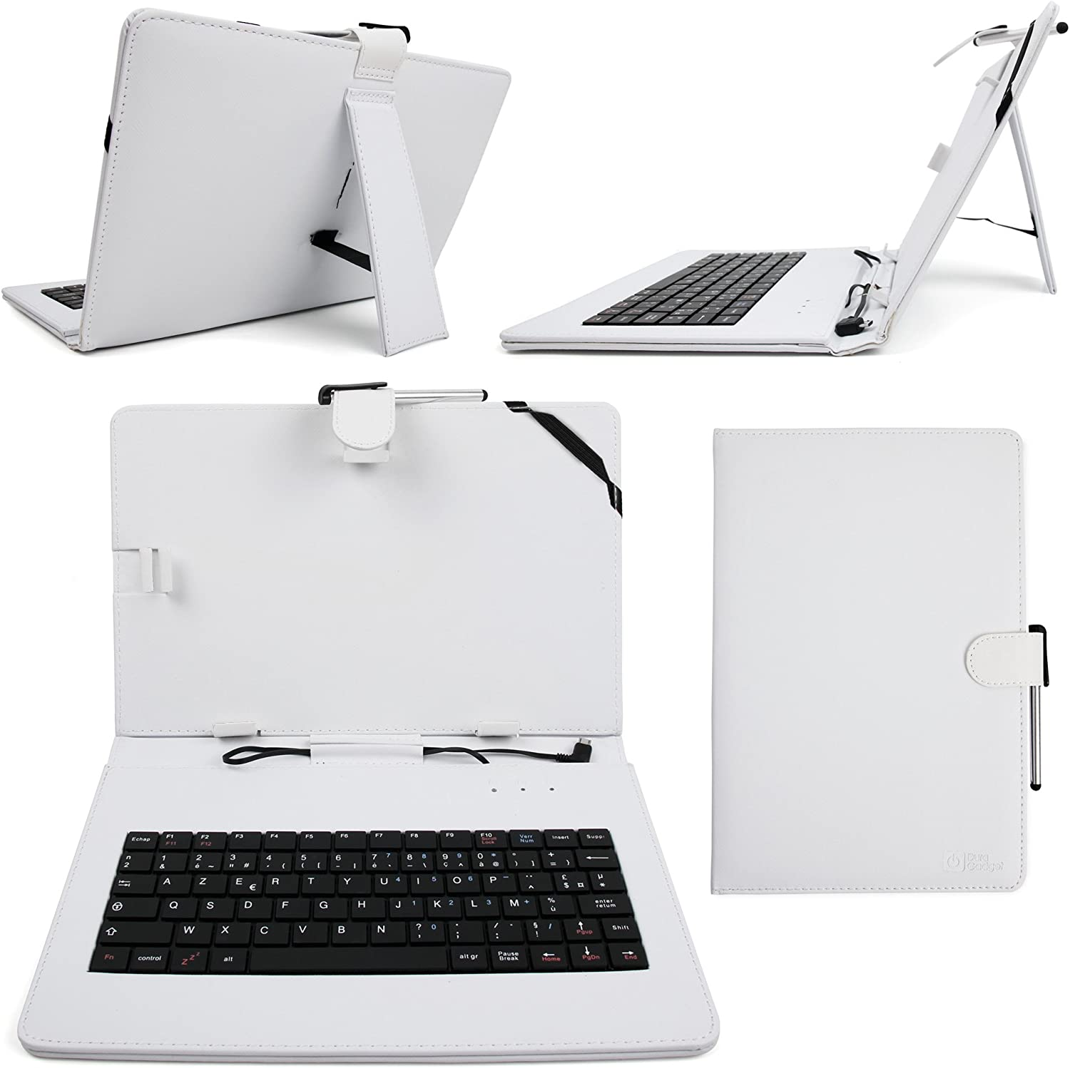 DURAGADGET French AZERTY White Faux-Leather Case w/Micro USB Keyboard - Compatible with Lenovo IdeaTab A10-70 Tablet + Cleaning Cloth