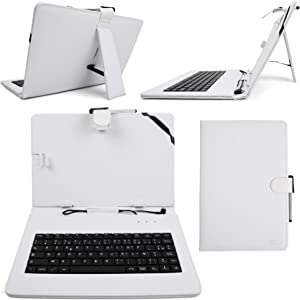DURAGADGET French AZERTY White Faux-Leather Case w/Micro USB Keyboard - Compatible with HP Omni 10 Windows & ElitePad 900 G1 Tablets + Cleaning Cloth