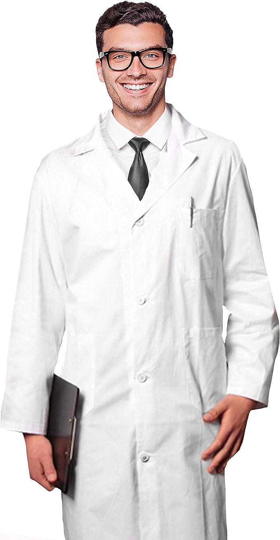 AIESI® Bata de Laboratorio Medico para Hombre blanco de algodón 100% sanforizado MADE IN ITALY talla 46: Amazon.es: Bricolaje y herramientas