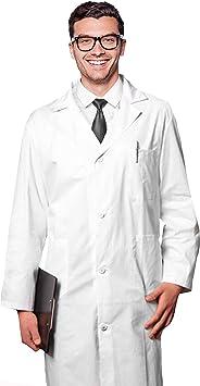 AIESI® Bata de Laboratorio Medico para Hombre blanco de ...