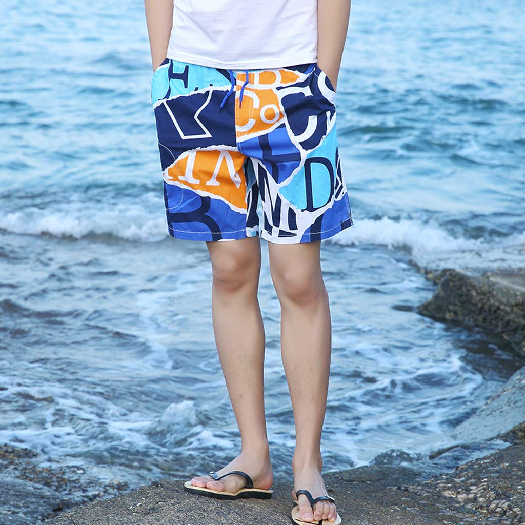 NUWFOR Men's Summer New Cotton Printed Short Sleeves Fashion Loose Size Beach Pants(Blue,US XL Waist:30.71-38.58'') by NUWFOR (Image #2)