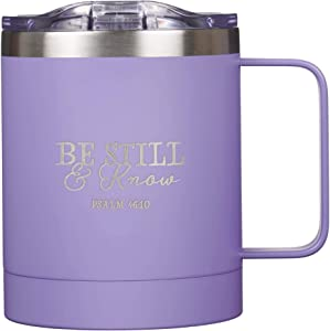 Be Still & Know Stainless Steel Purple Mug w/Psalm 46:10 - Camp Style Travel Mug, Christian Mug for Women or Men (11oz Double Wall Vacuum Insulated Coffee Mug with Lid and Handle)