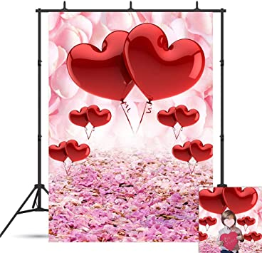 Kackool 6.5x5ft Red Rose Floral Wedding Photography Backdrop Valentines Day Party Photo Backdrops Photo Booth Props Pictures