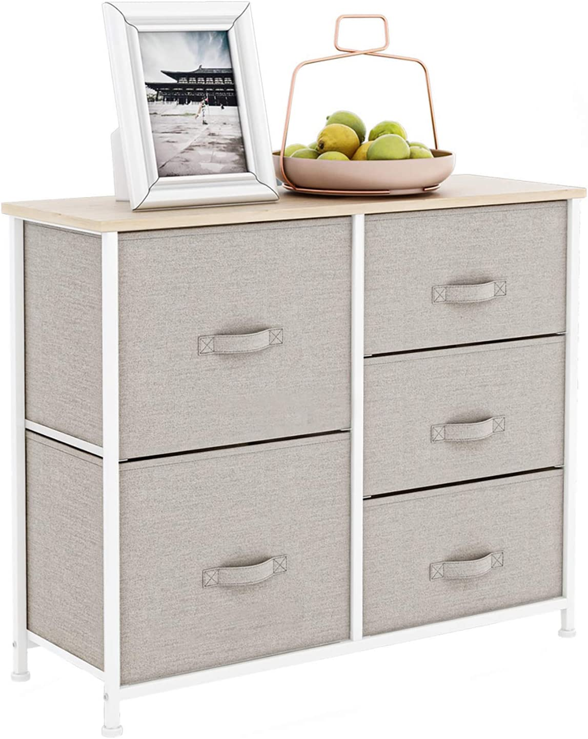 Dresser with 5 Drawers, Fabric Storage Tower, Chest Drawer for Bedroom, Living Room, Closets & Nursery - Organizer Unit with Sturdy Steel Frame, Easy Pull Fabric Bins, Wooden Top - Light Grey