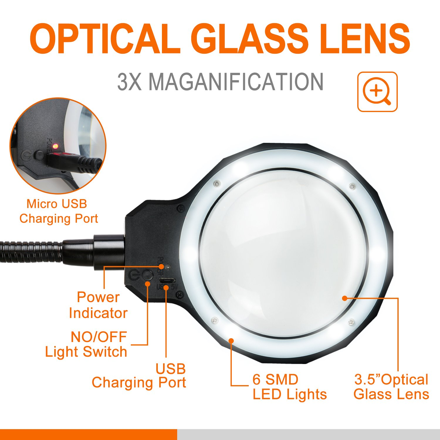 Daylight LED 3X Magnifying Lamp Magnifying Glass with Light Clip On Illuminated Magnifier Lens with 3 Adjustable Light Settings /& Detachable Head