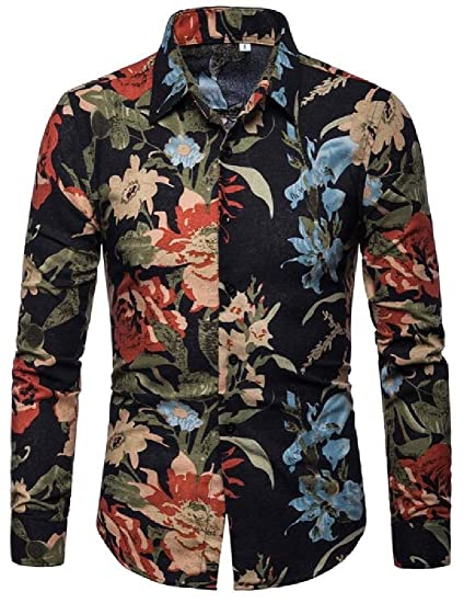 a986e397b737 Suncolor8 Mens Casual Long Sleeve Button Down Slim Floral Print Dress Shirts  at Amazon Men s Clothing store