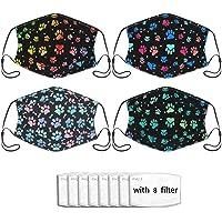4pcs Face Mask With Filter Pocket Unisex Balaclava Washable Reusable Cloth Fashion Scarf