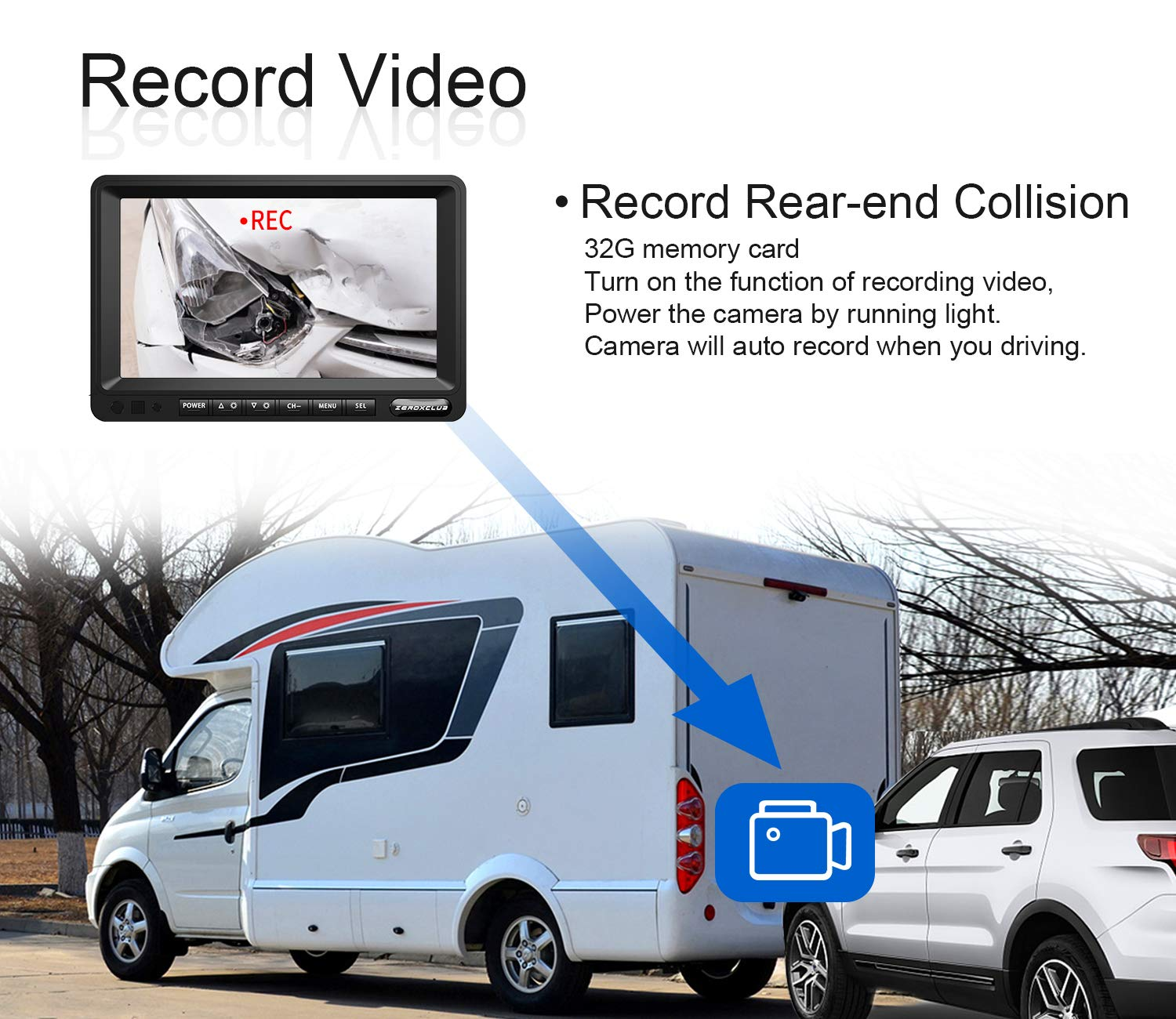ZEROXCLUB FHD Wired Backup Camera Kit for Bus Trailer Van RV,with 7 inch Monitor Waterproof IP69 HY02 Record 1 Conch Camera and 1 Rear Camera