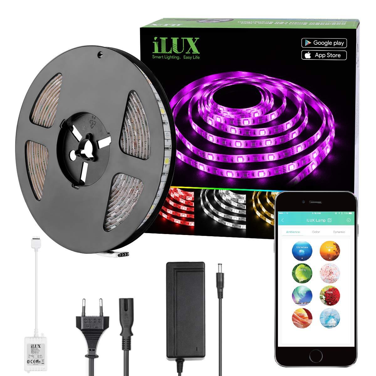 LE Intelligente LED Streifen Set Bluetooth RGBW, 5M 5050 300 LEDs Wasserfest LED Strip RGB+Kaltweiß, Smartphone kontrolliert Lichtband Lichterkette, inklusive 12V 3A Adapter [Energieklasse A+] Lighting EVER 900022-RGBW-F-EU