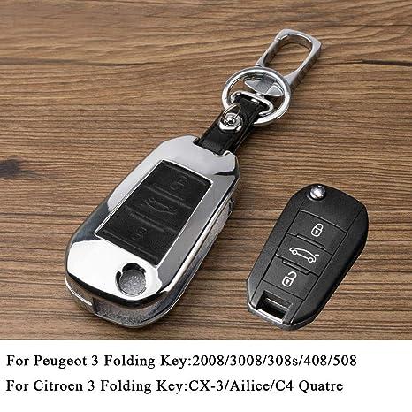 Amazon.com: Zinc Alloy Remote Key Case Cover for Peugeot 508 ...