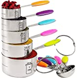 Marked Measures 10 Pcs Stainless Steel Measuring Cups and Spoons Set by CHOICE@HOME-Polished Stackable Set with 2 Rings Holder and Colorful Silicone Handles-Accurate Measurement for Cooking or Baking