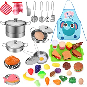 Toys for 3 Year Old Girls Boys, Play Kitchen Accessories with Stainless Steel Cookware Pots & Pans Set, Cut Play Food, Apron, 46 Pcs Toy Kitchen Sets Gift for Kids Children Age 3 4 5 6 7