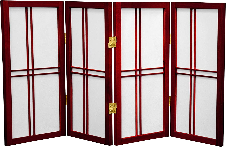 4 Panel White Oriental Furniture 2-Feet Cross Hatch Desktop Japanese Mini Shoji Privacy Screen Room Divider