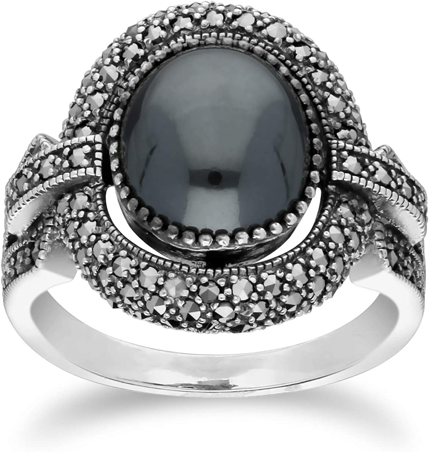 Sterling Silver Marcasite Ring with Popular brand Cabochon Hematine Sales Oval Size